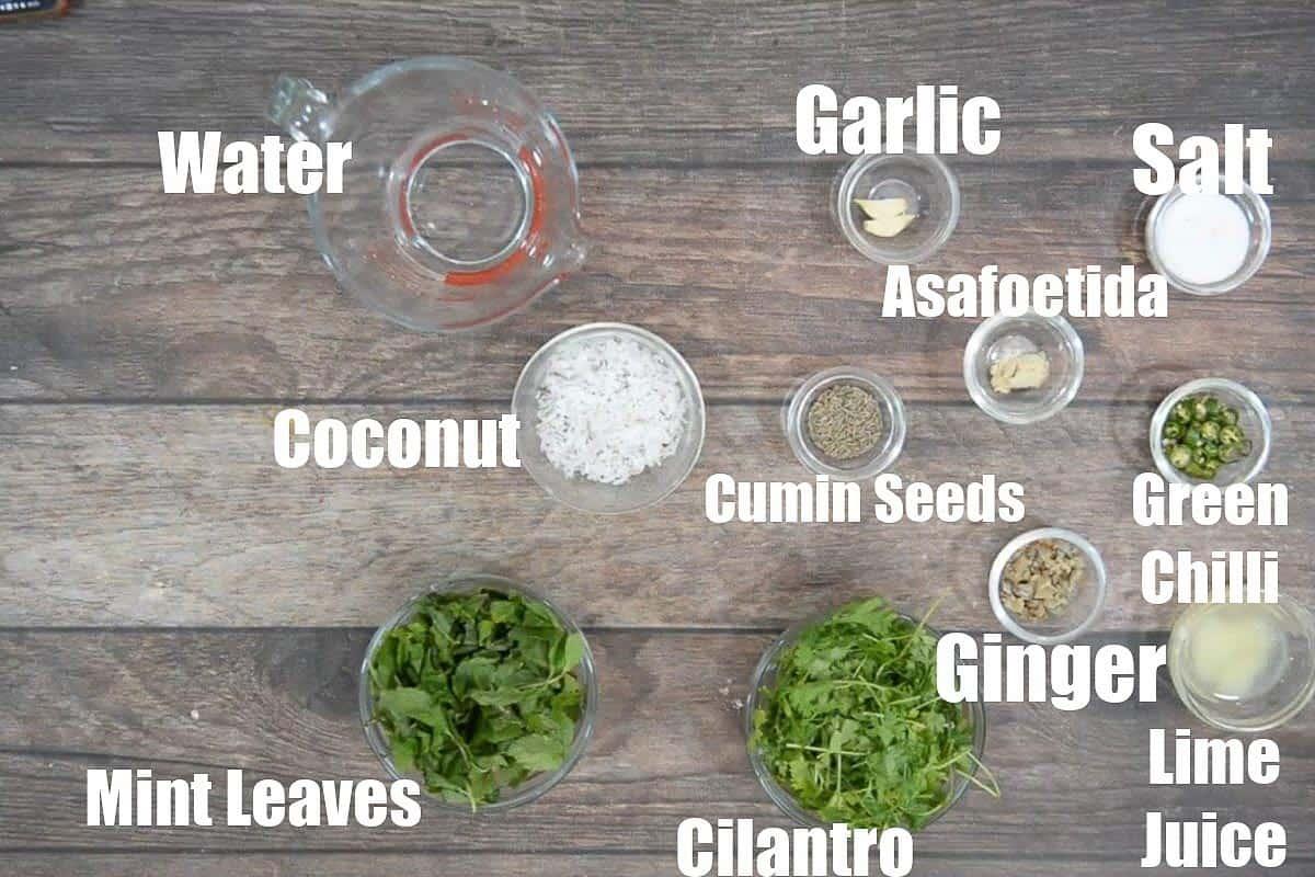 Mint Chutney Ingredients.