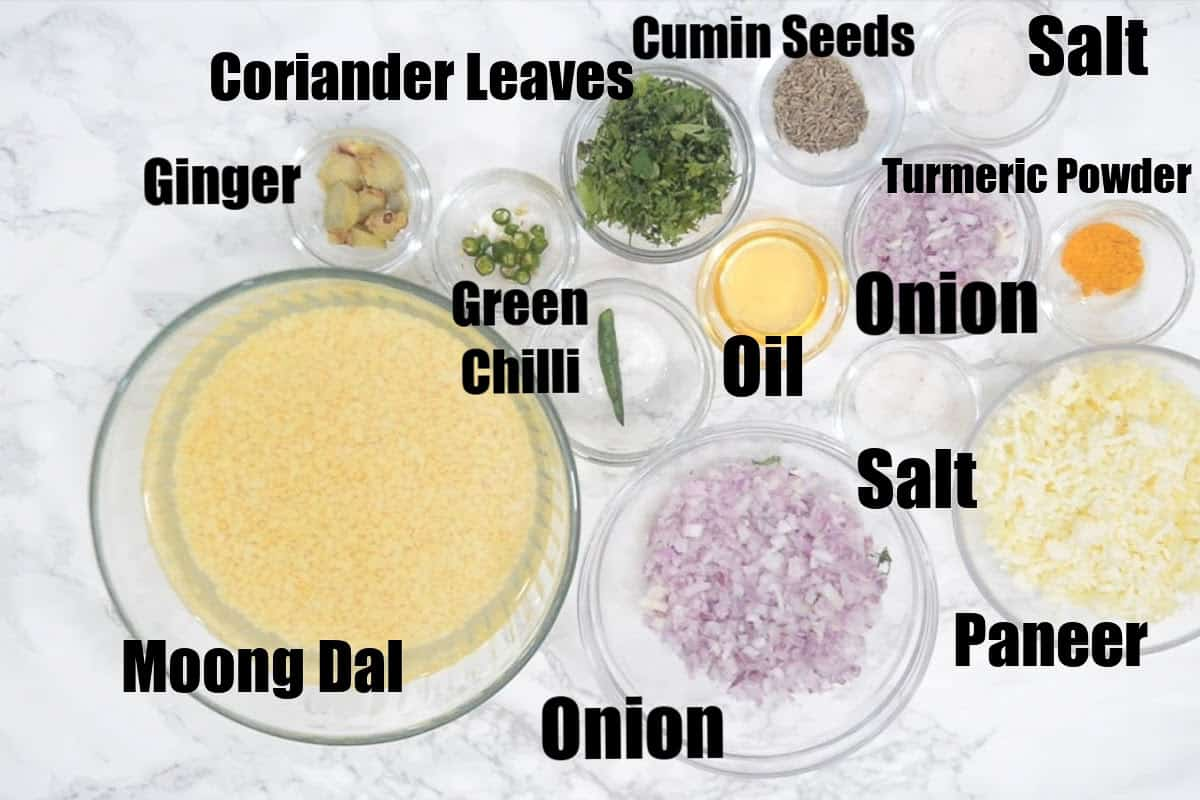 Moong Dal Chilla Ingredients.
