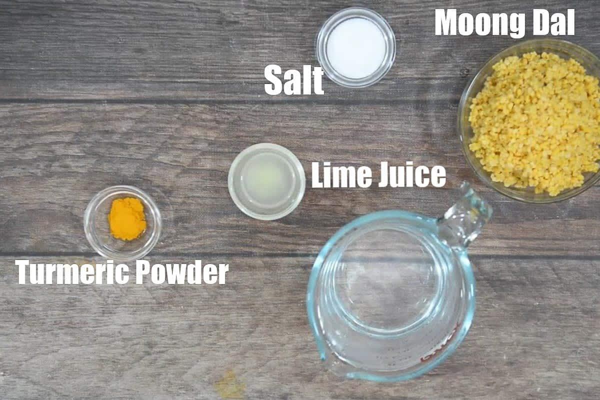 Moong dal ingredients.