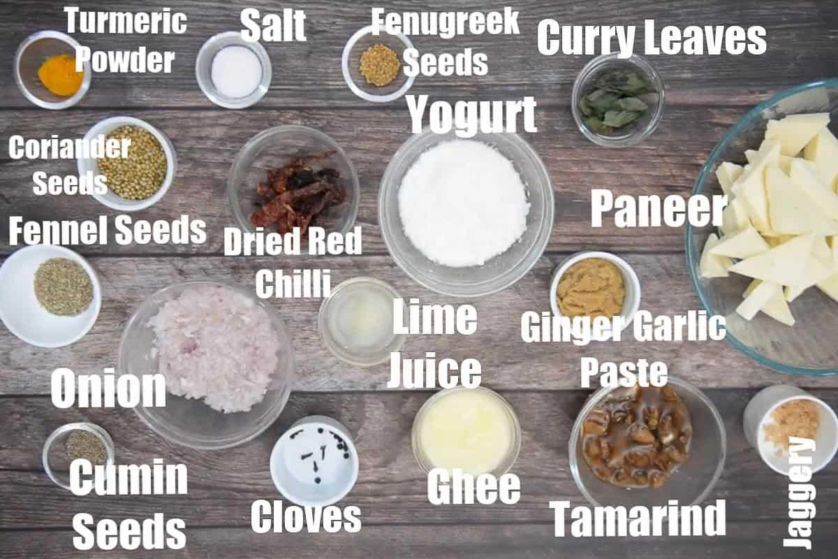 Paneer ghee roast ingredients.