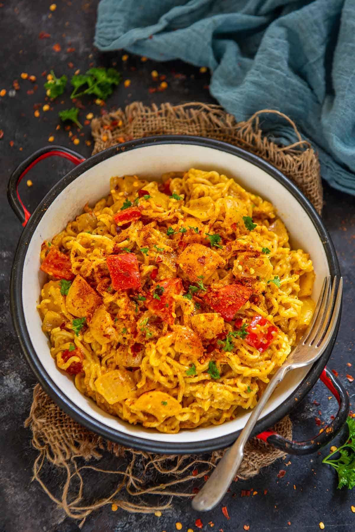 Peri peri maggi served in a bowl.