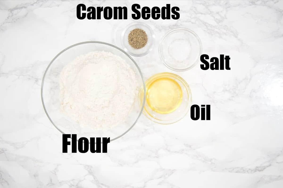 Samosa dough ingredients.