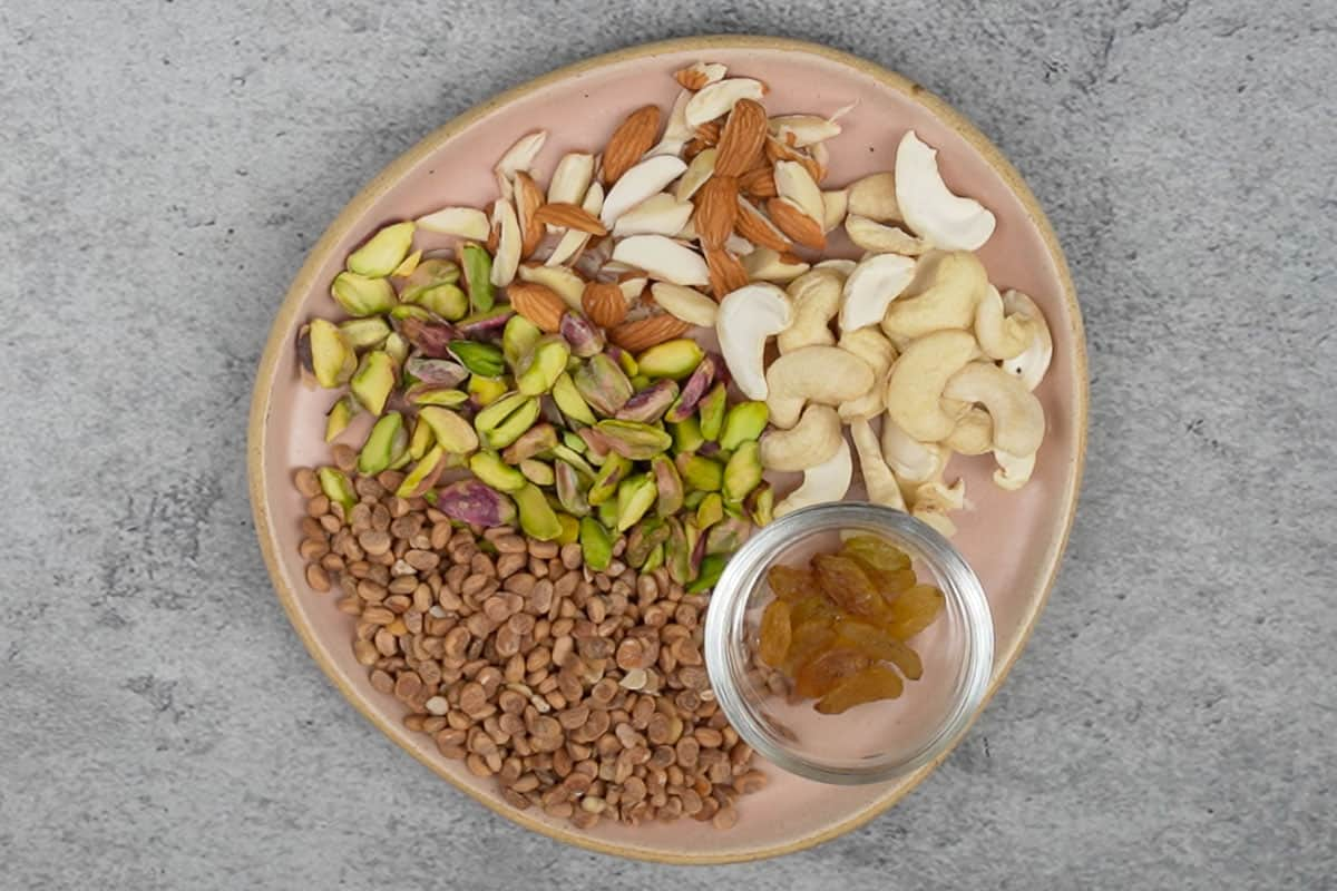 Ready nuts and dried fruits.