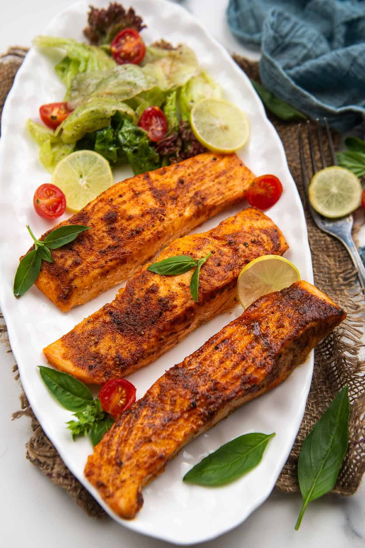 Air fryer salmon served in a bowl.