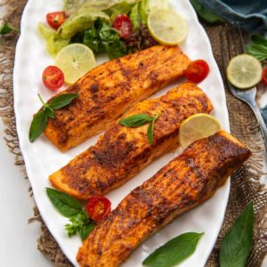 This air fryer salmon is tender, juicy, and perfectly seasoned. Once you make the salmon in the air fryer, there is no going back, I am telling you! The process is easy, fuss-free, requires minimal cleanup and all you need is 15 minutes of your time.