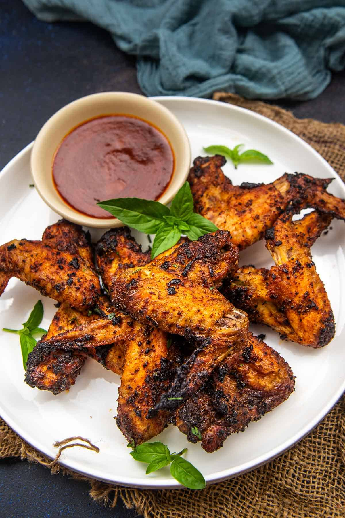 cajun wings served on a plate.