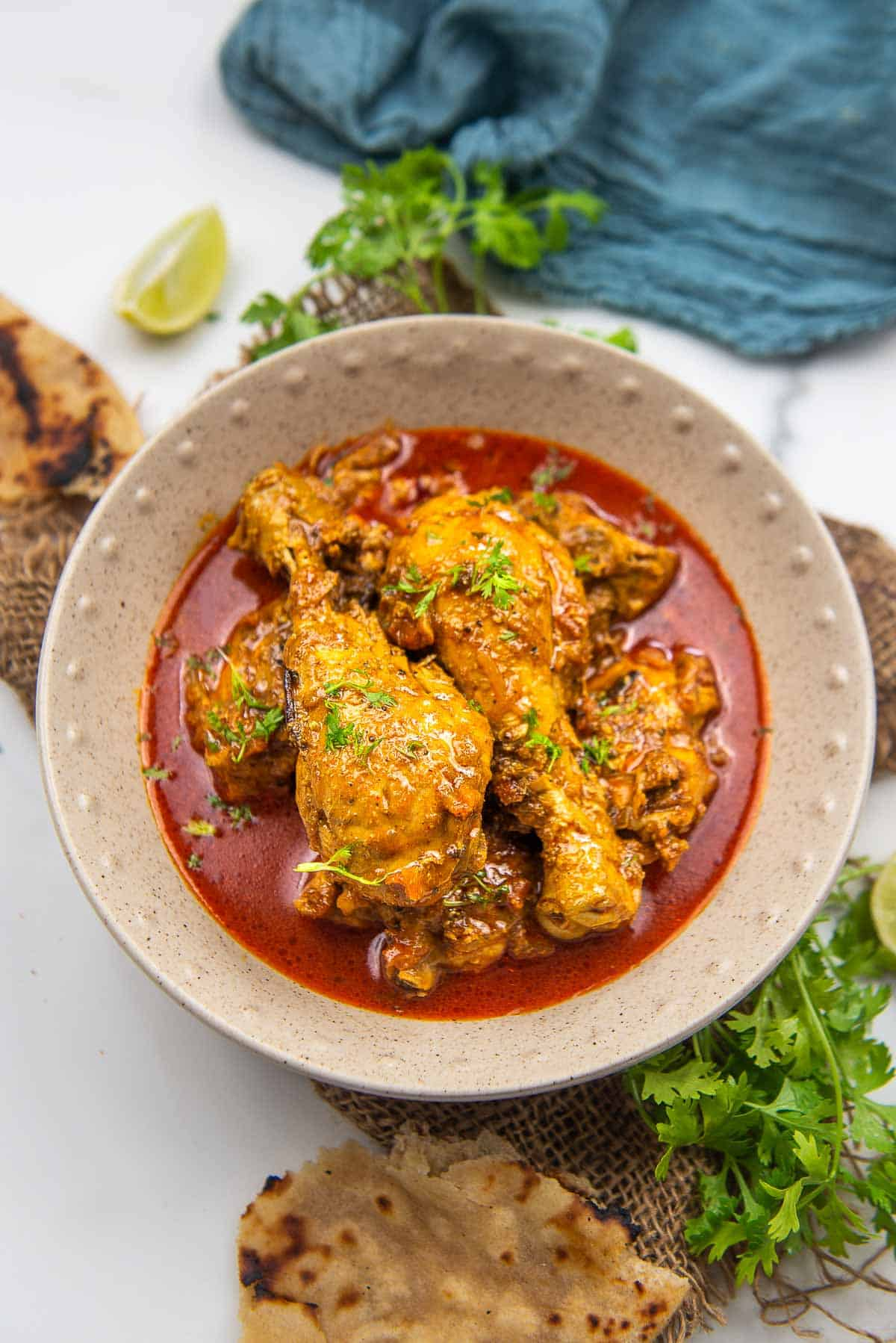 Indian chicken curry served in a bowl.