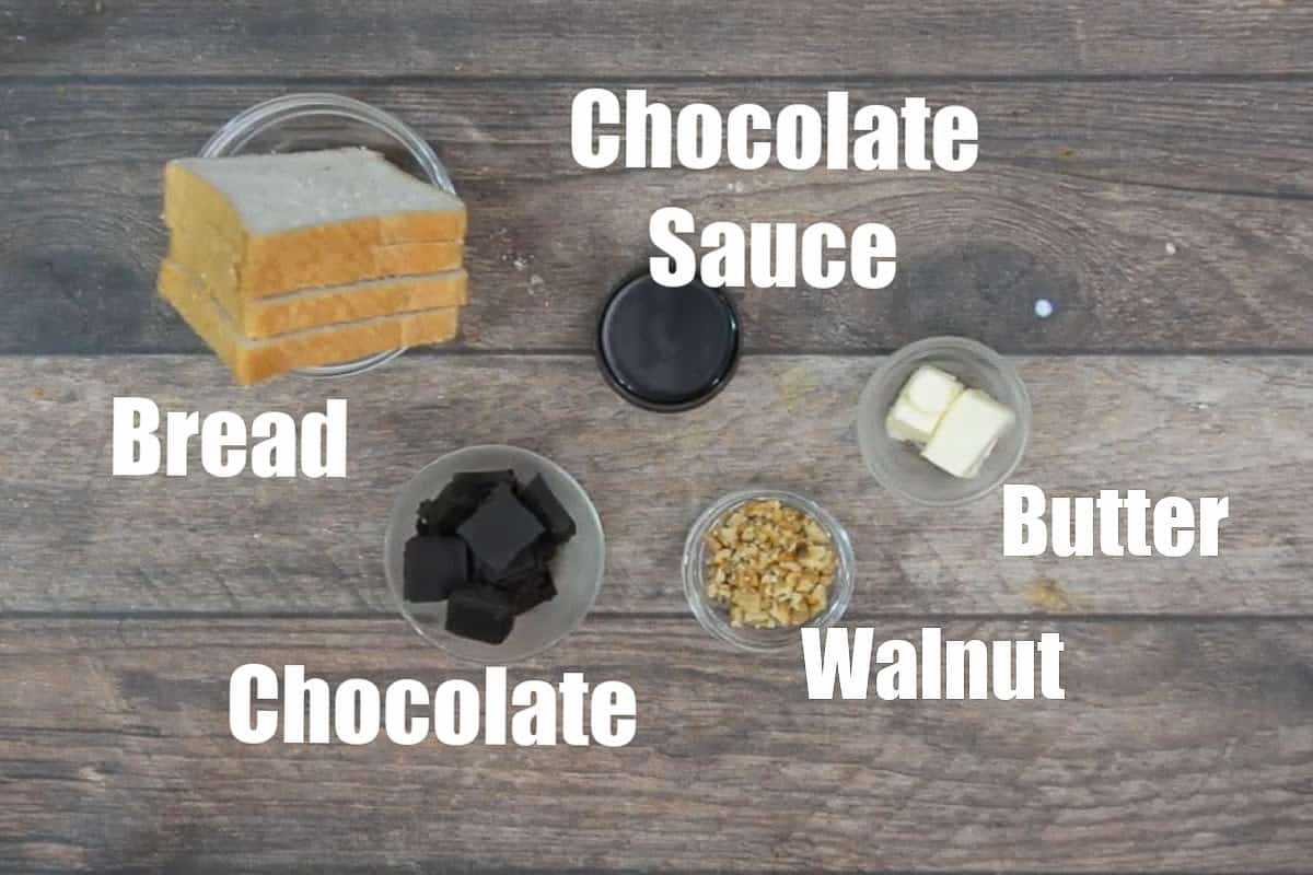 Chocolate sandwich ingredients.