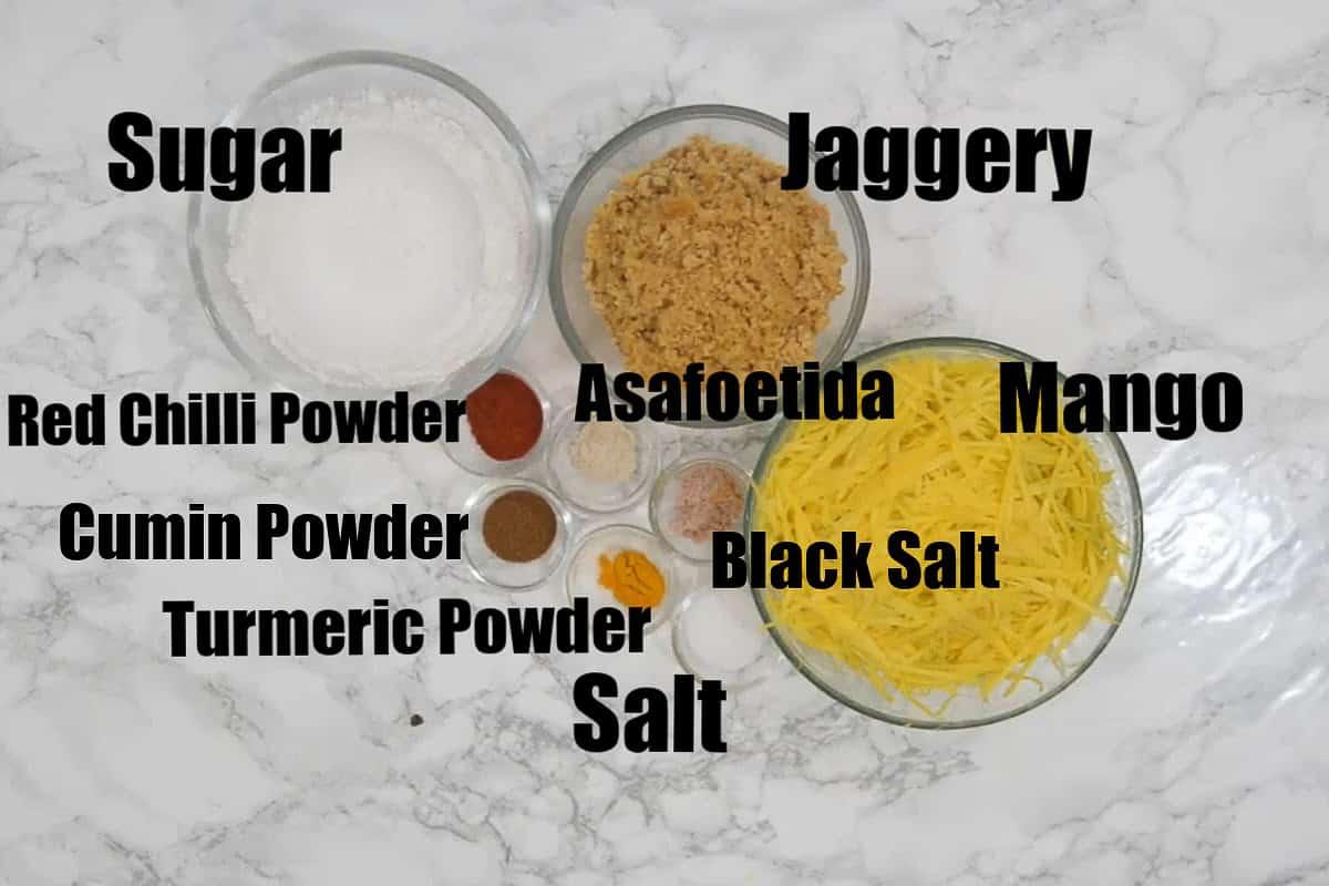 Chunda ingredients.