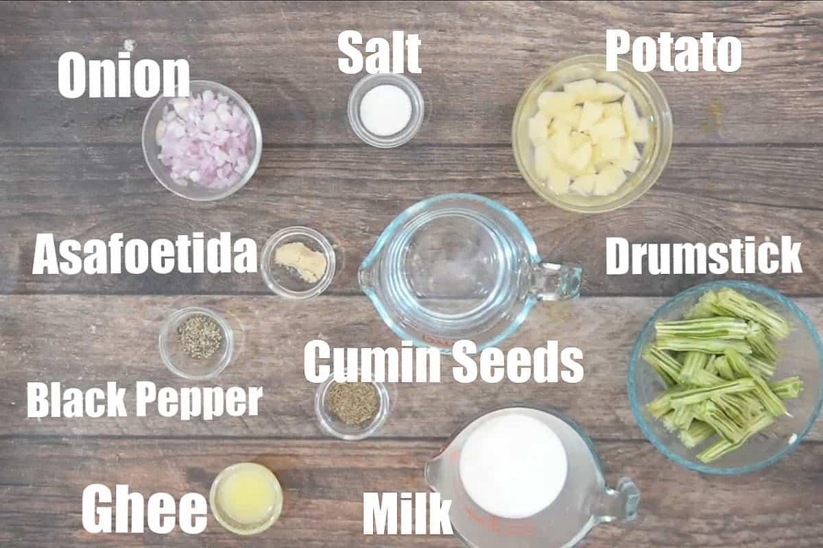 Drumstick soup ingredients.