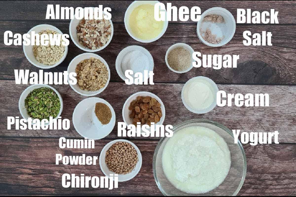Dry fruit raita ingredients.