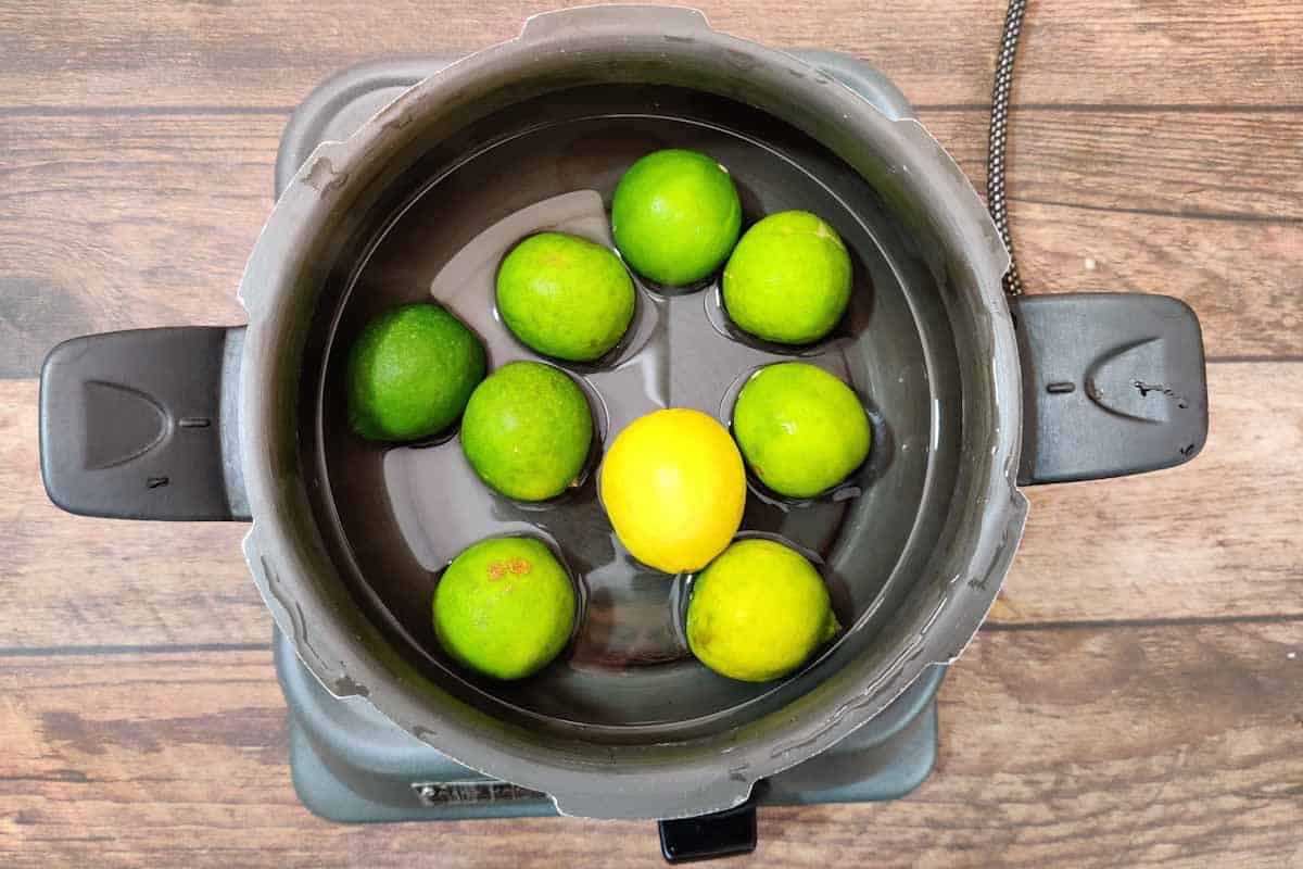 Lime added to a pressure cooker.