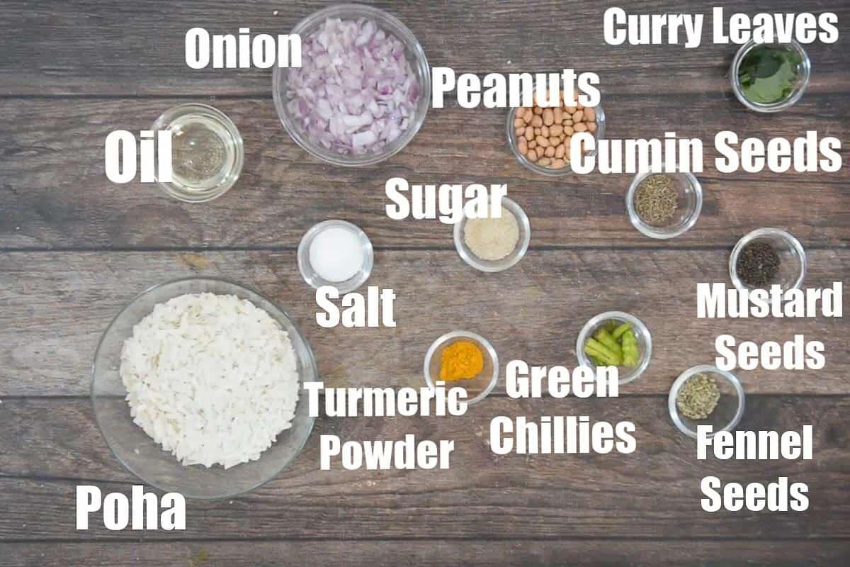 Indori poha ingredients.