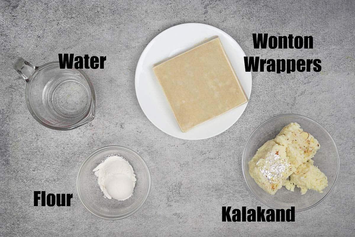 Kalakand Wontons Ingredients.