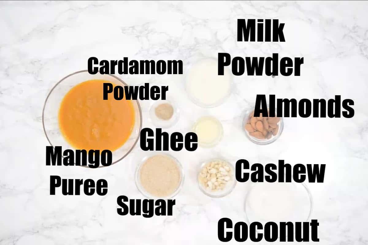 Mango burfi ingredients.