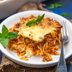 This baked million dollar spaghetti casserole is an easy, hearty, and budget-friendly recipe that is great to feed a family or a crowd. Although it tastes best just out of the oven, it is freezer-friendly and can be made ahead.