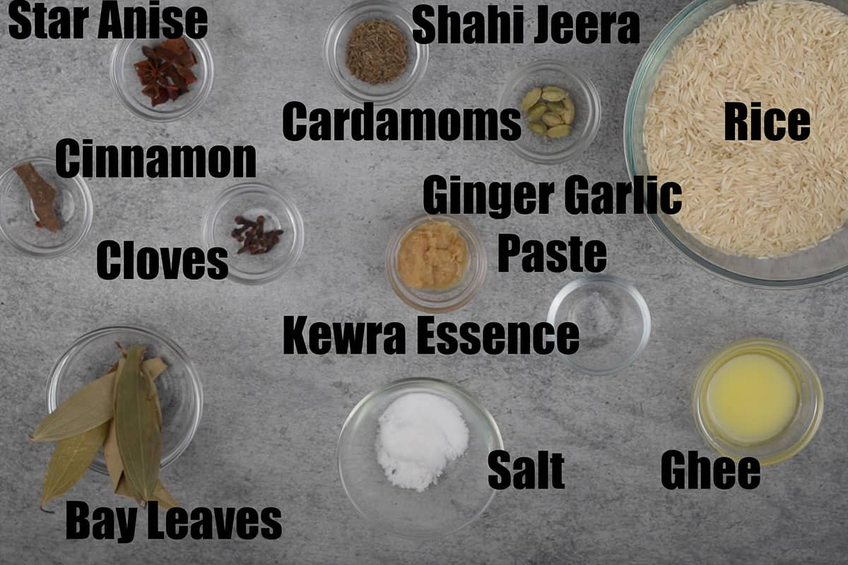 Ingredients to cook rice for mutton biryani.