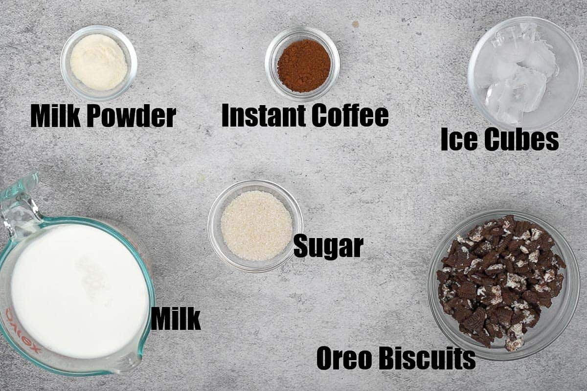 Oreo Cold Coffee Ingredients.