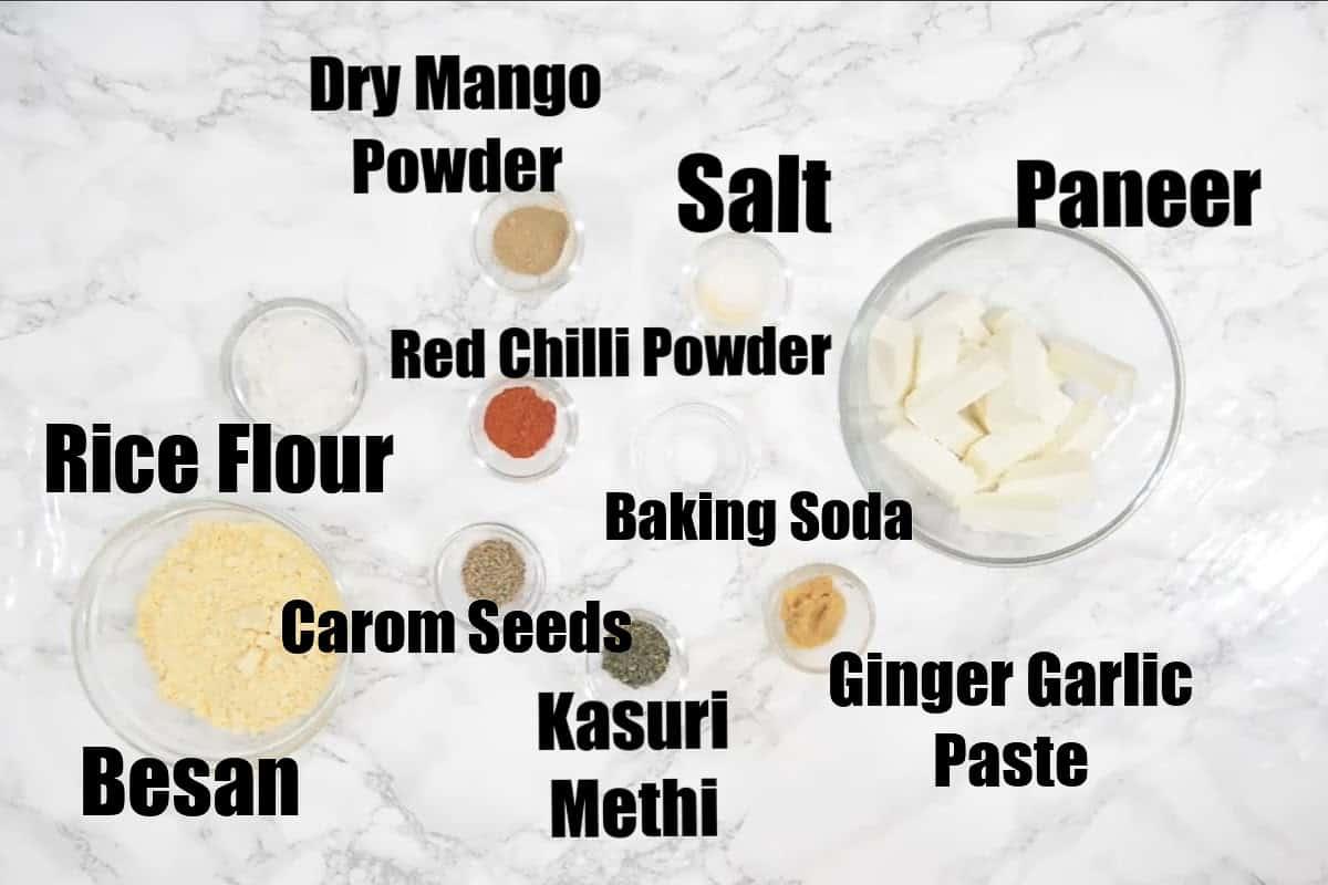 Paneer pakora ingredients.