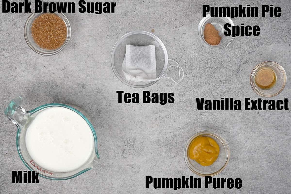 Pumpkin Spice Chai Tea Ingredients.