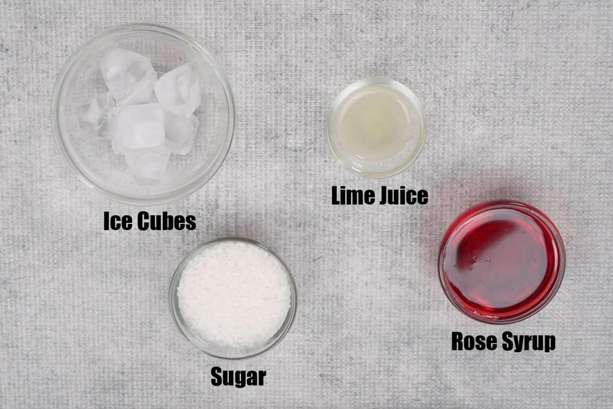 Rose soda ingredients.