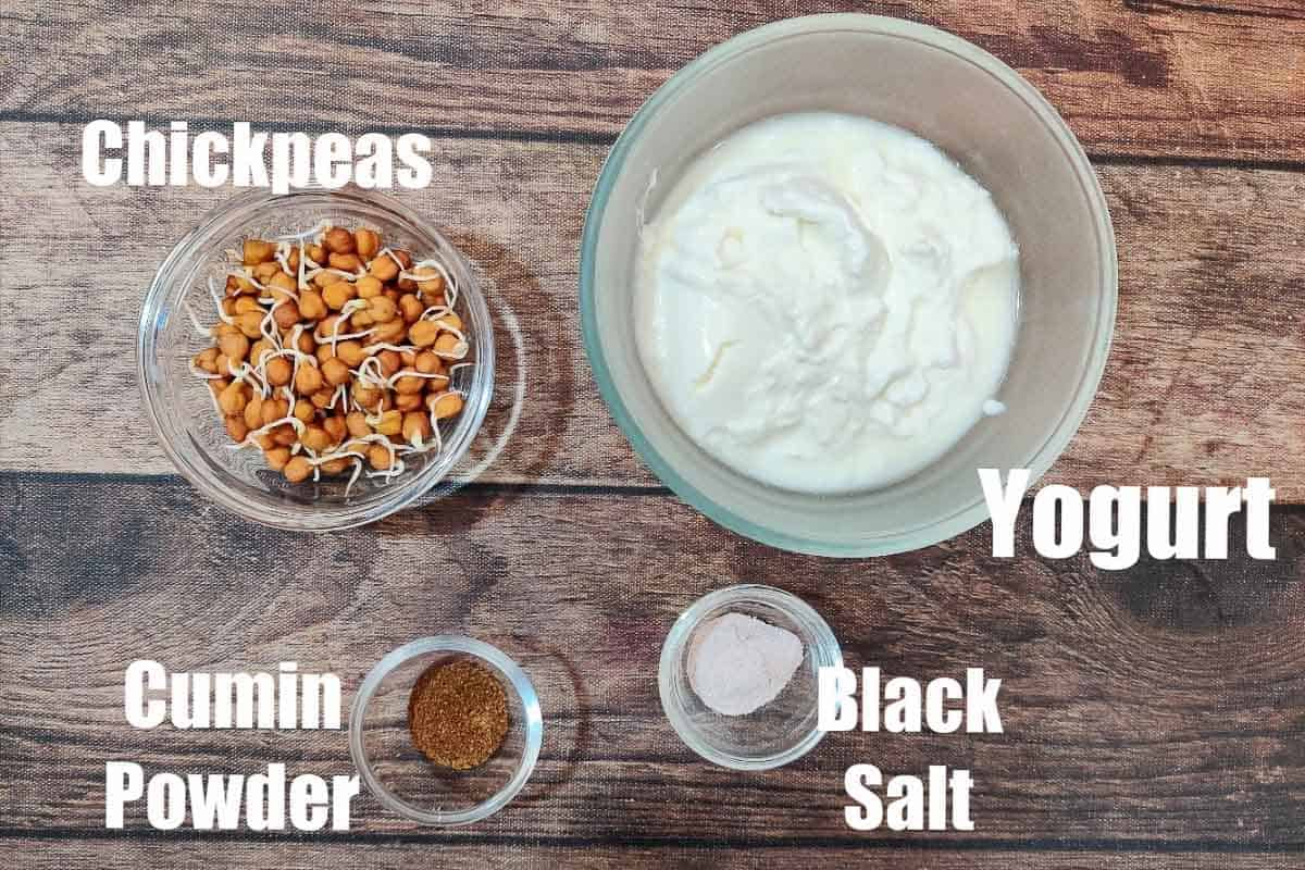 Sprouted chickpea raita ingredients.