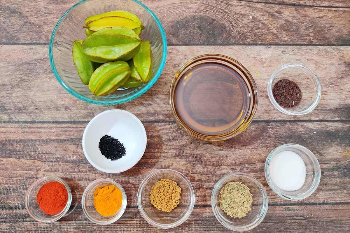 Starfruit pickle ingredients.