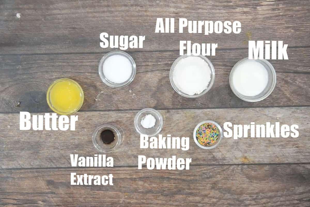 Vanilla mug cake ingredients.