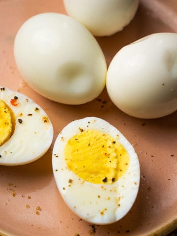 These air fryer hard-boiled eggs come together in 30 minutes, no boiling required. The process is hands-off and fuss-free and the eggs peel perfectly.