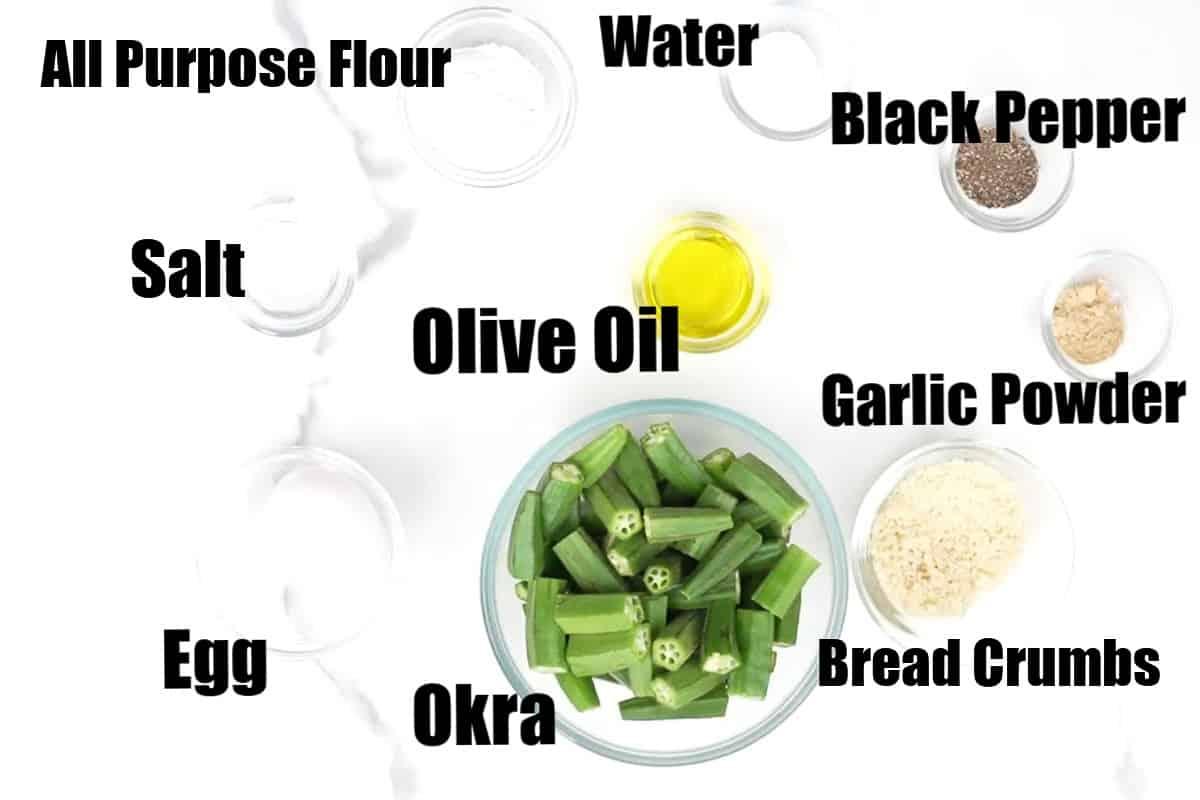Air fryer okra ingredients.