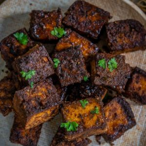 Make crispy Air Fryer Tofu in just 10 minutes. It's vegan, healthy, and tastes just like it's straight from the deep fryer.