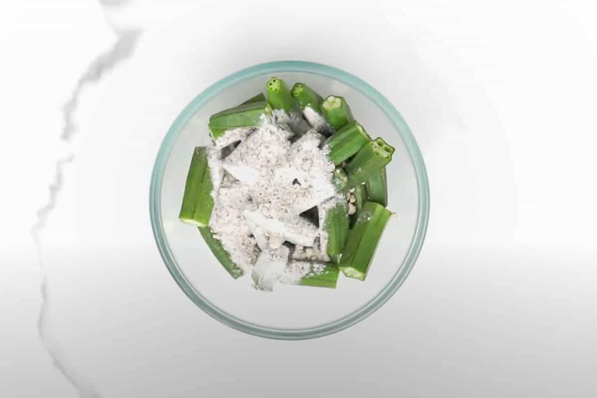 Okra tossed with flour mixture.