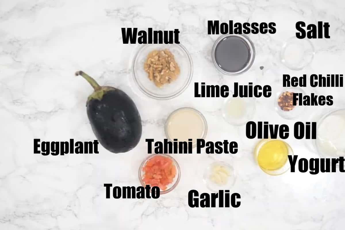 Baba ganoush ingredients.