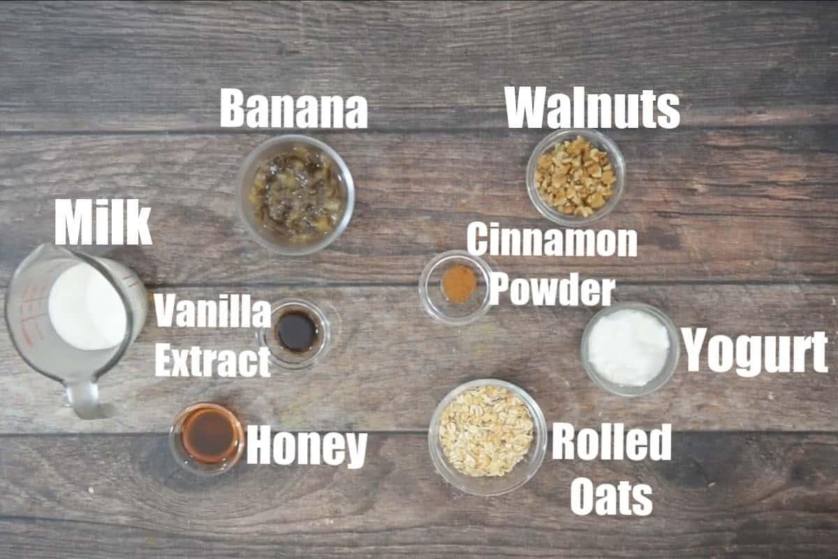 Banana bread overnight oats ingredients.
