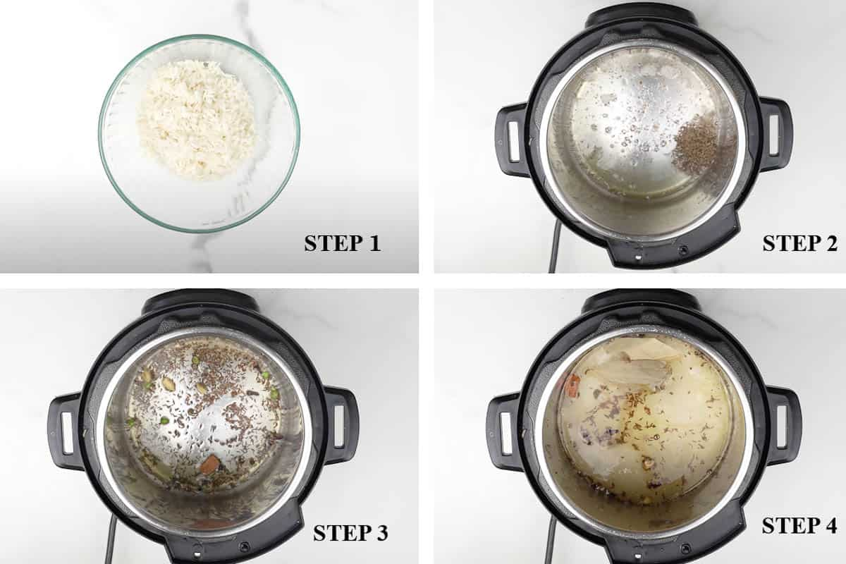 Collage for step 1-4 of of instant pot Jeera Rice.