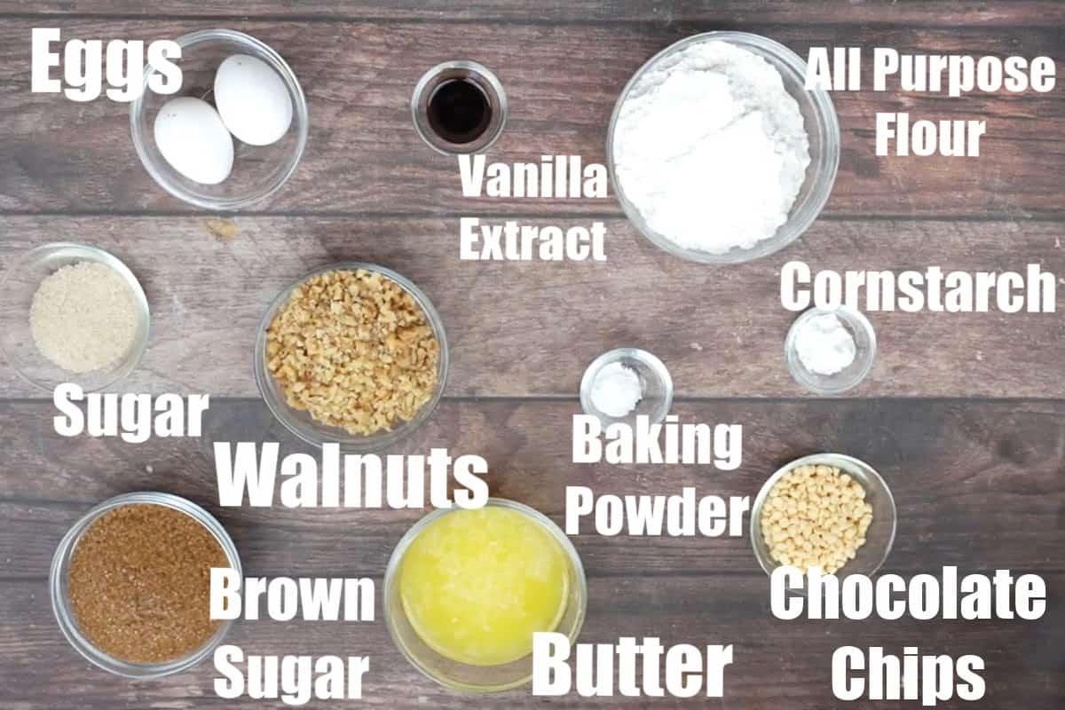 Blonde brownies ingredients.