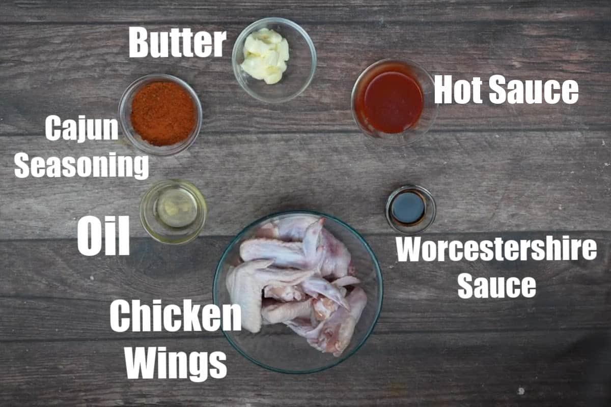 Cajun wings ingredients.