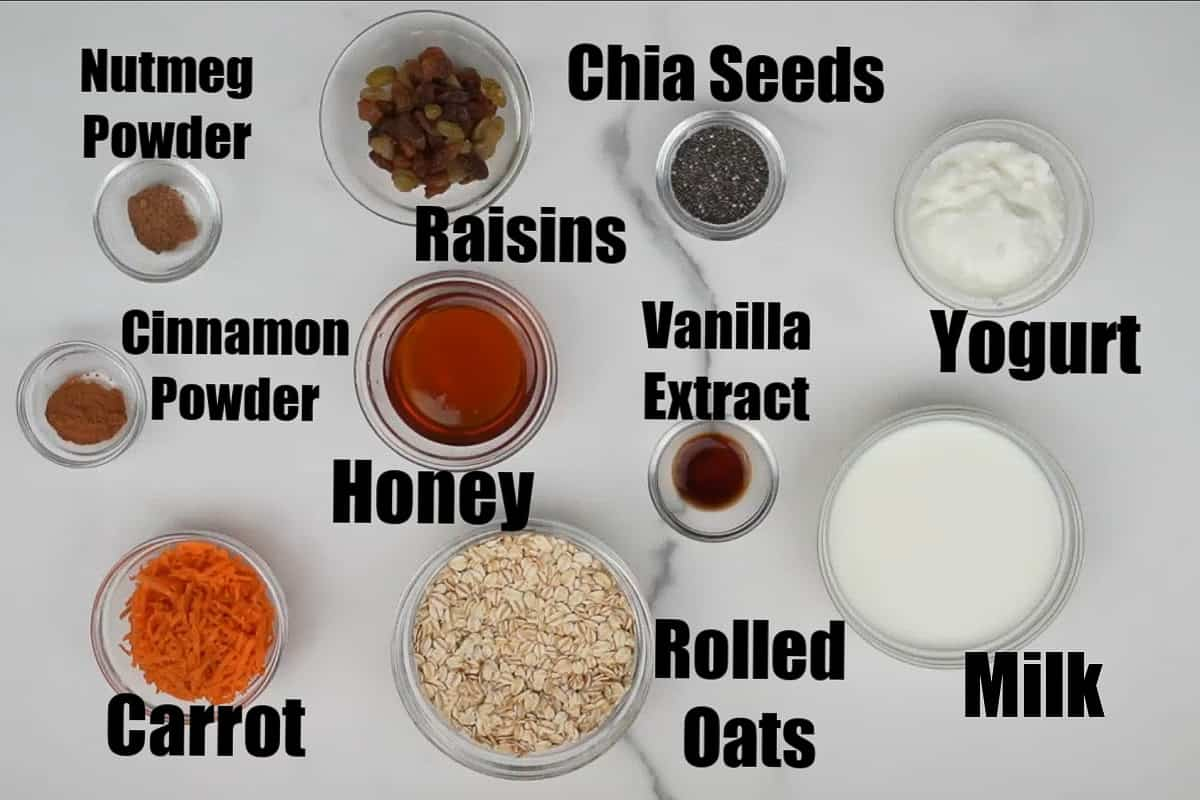 Carrot cake overnight oats ingredients.
