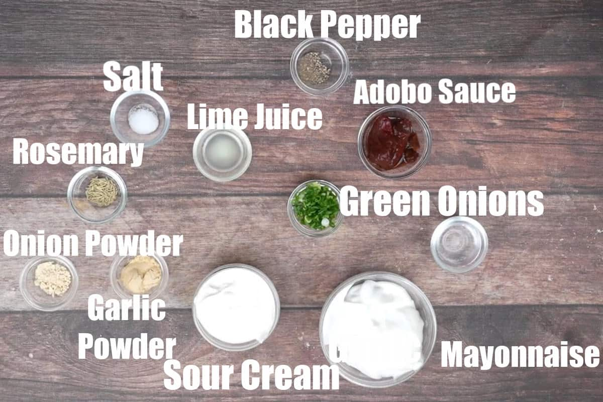 Chipotle ranch ingredients.