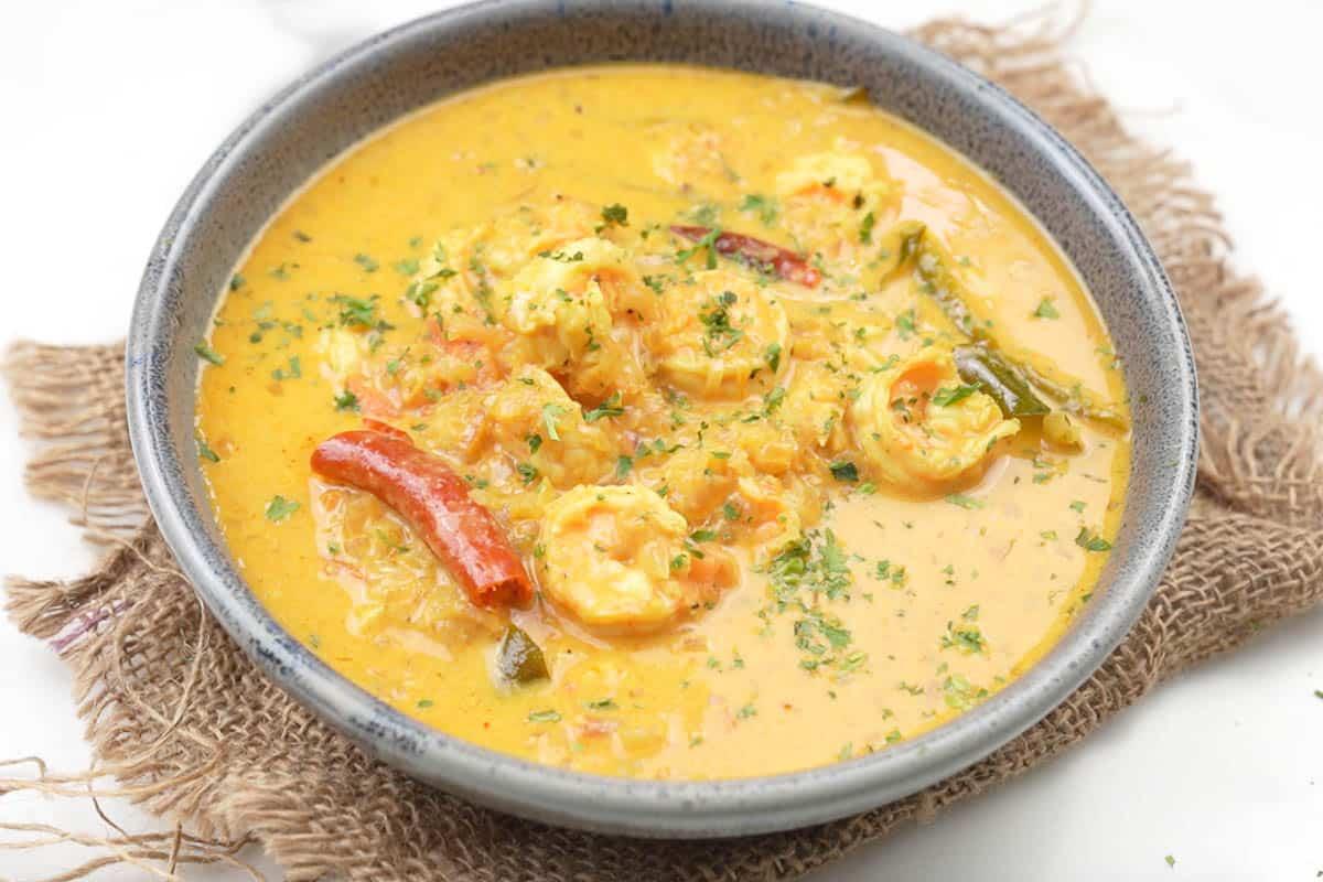 Ready coconut shrimp curry.