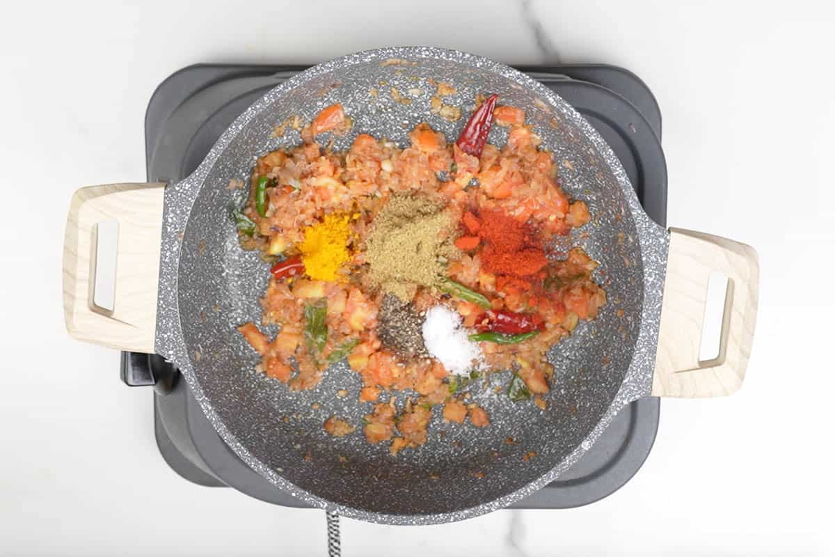 Spice powders added to the pan.