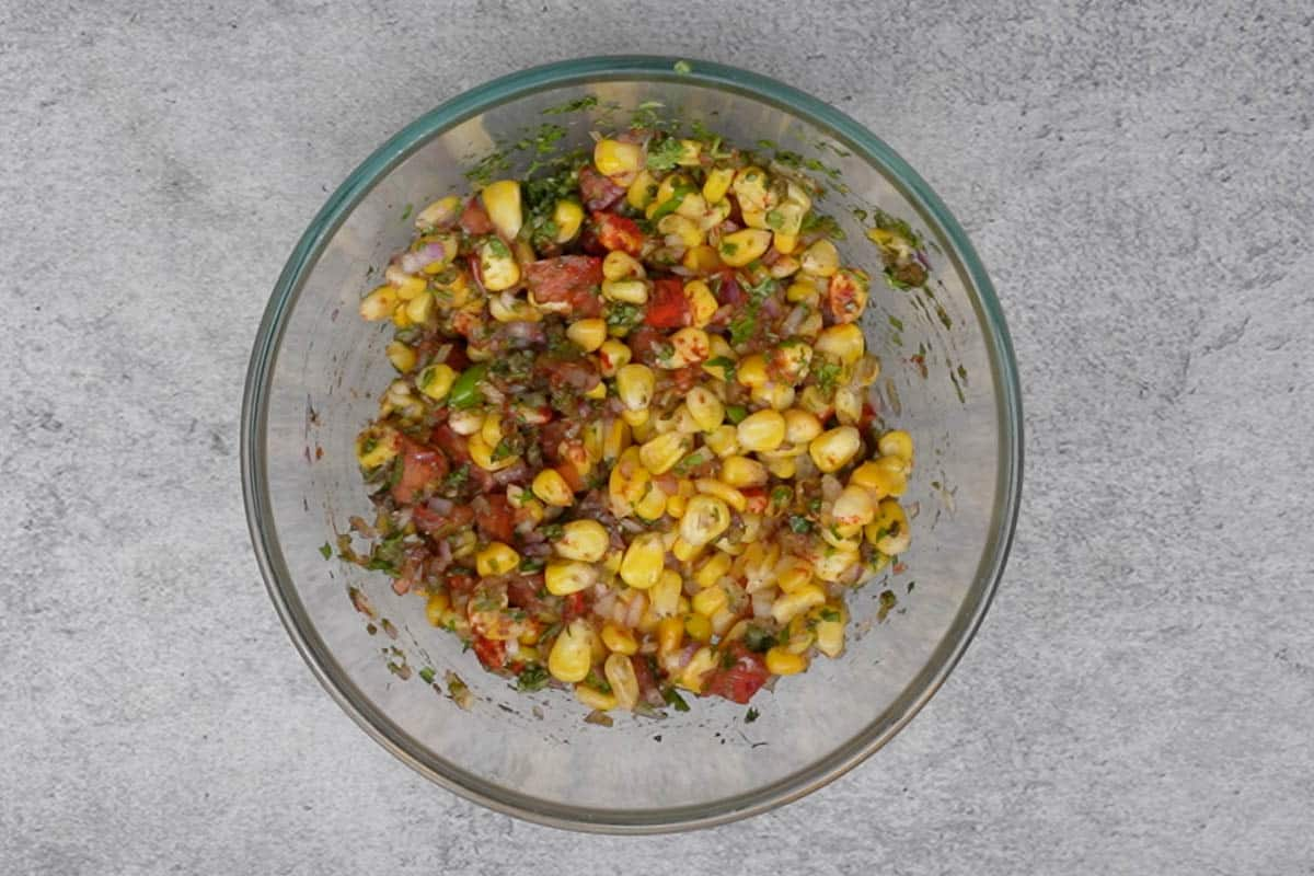 Ready Indian style corn chaat.