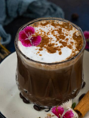 """This Mexican Mocha tastes like """"your coffee met hot chocolate""""! With a kick from spices and chocolaty flavors from cocoa powder, this Latin-inspired mocha will keep you warm on cold winter or rainy days. Try it!"""