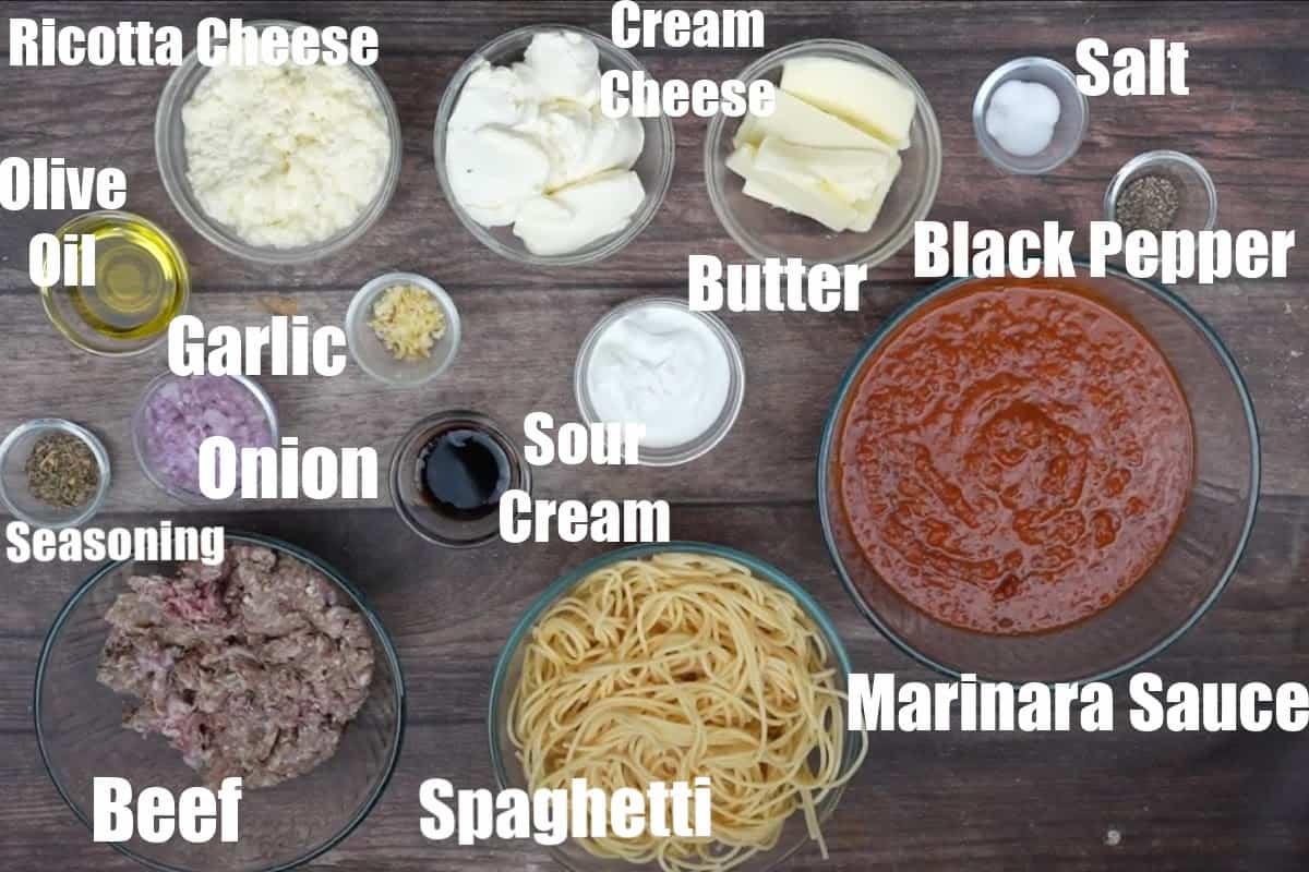 Million dollar spaghetti ingredients.