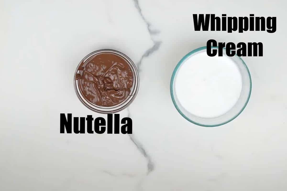 Nutella mousse ingredients.