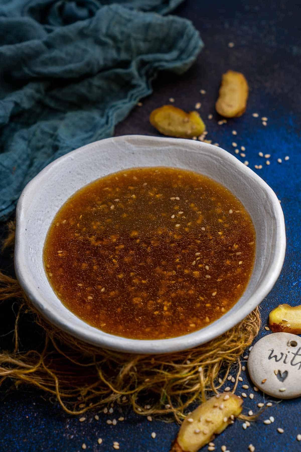 Sesame ginger dressing served in a bowl.
