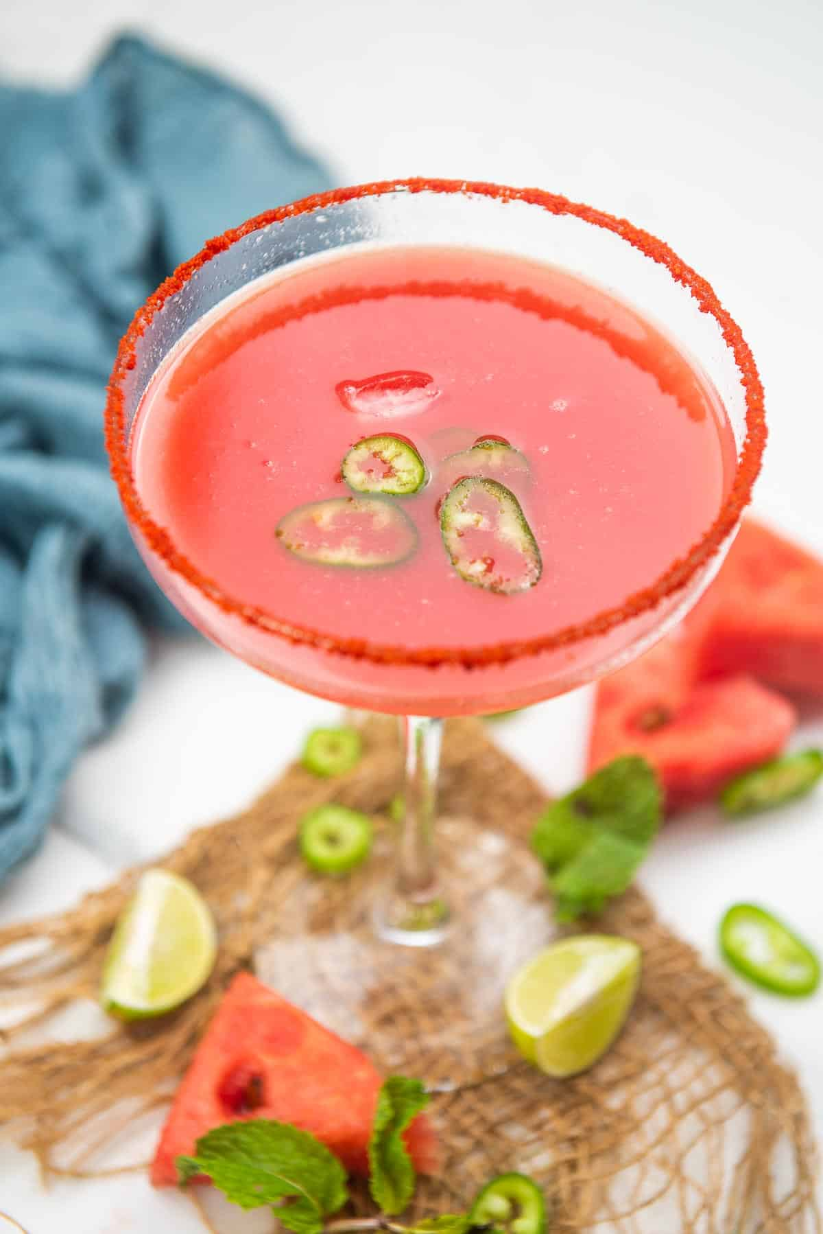 Spicy watermelon margarita served in a glass.