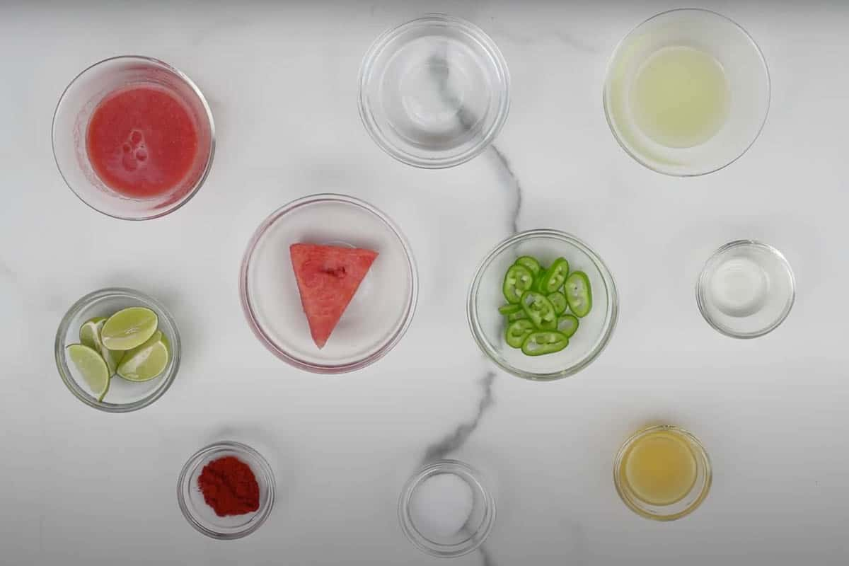 Spicy watermelon margarita ingredients.