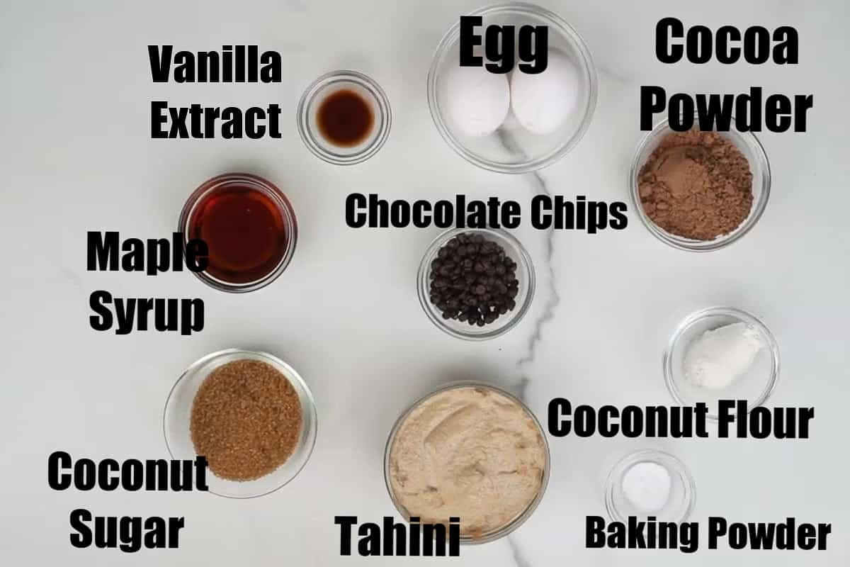 Tahini Brownies ingredients.