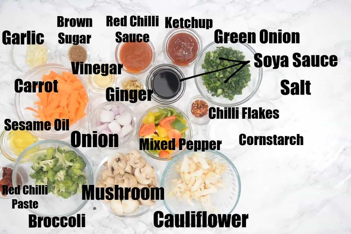 Vegetables in hot garlic sauce ingredients.